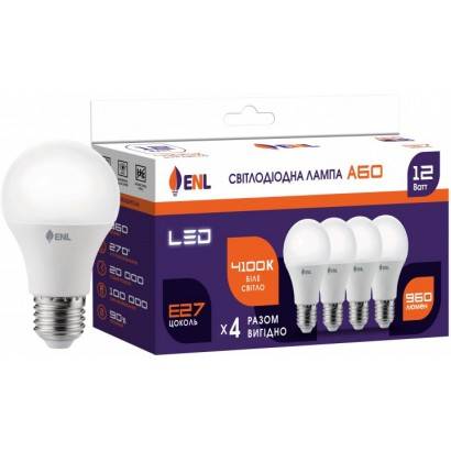 Лампа світлодіодна ENL A60 12Вт 4100K E27