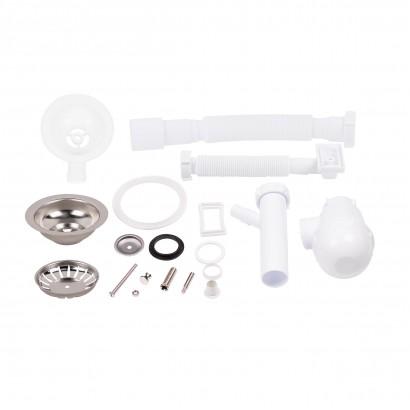 Сифон для кухонної мийки Lidz (WHI) 60 05 M002 01 EURO з відводом для пральної машини (вихід 50 мм) (SD00042777)