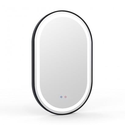 Зеркало овальное 50*80см, в алюминиевой раме, с подсветкой, диммером, подогревом зеркала, черное (16-42-500B)