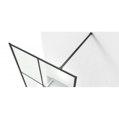 MALLA NEGRA комплект Walk-In 110*200*0,8см с полотенцедержателем, профиль черный матовый (18-08-110black set)