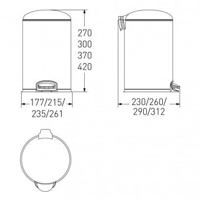 Ведро мусорное округлое 3л, с педалью, белое (14-03-53W)