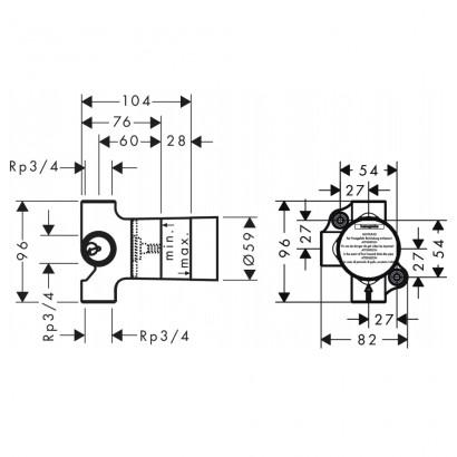 HANSGROHE вентиль (скрытая часть запорного/переключающего вентиля) (15981180)